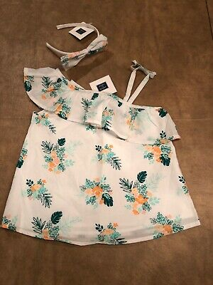 NWT Janie and Jack girl Summer 2-piece Green peach floral top Bow SET 3T 3