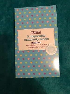 Tesco 5 Disposable Maternity Briefs Medium Size 14/16