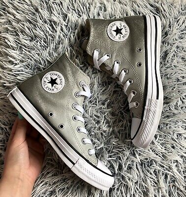 Converse All Star Womens Girls Size Uk 3 Grey Glitter Ombre High Top Trainers