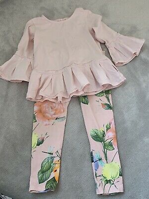 Girls Age 5-6 Pink Ted Baker Leggings Peplum Frill Top Outfit Set