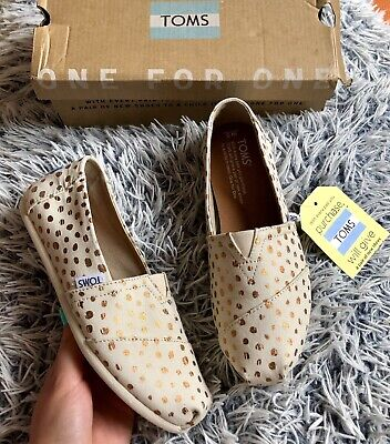 BNWT Toms Womens Girls Beige Espadrilles Flat Shoes Rose Gold Dots Size 3