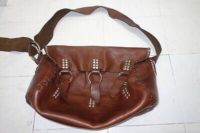 Boho Hand Made  Brown Studded Leather Bag w/ Shoulder Strap.