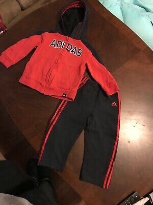 Adidas Sweatsuit 4T Unisex Red Black Tracksuit Sweat Track Suit Boys Girls