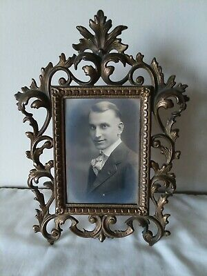 Antique Gilt Cast Iron Easel Tabletop Picture Photo Frame Ornate #118