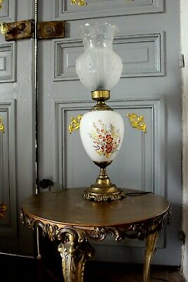 Antique French Oil Table Lamp Bronze Porcelain Handpainted & Rare Glass Shade