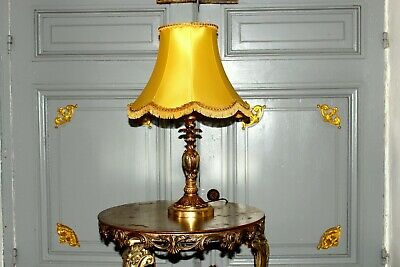 Antique Heavy French Vintage Solid Bronze Table Lamp Light With Elegant Shade