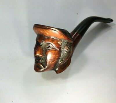"""Vintage Rare Handcrafted Detailed Hand Carved Wooden Face Smoking Pipe """"Maraman"""""""