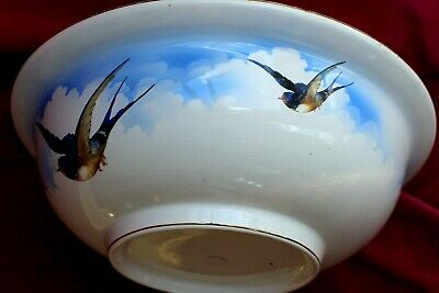 Vintage Attractively Decorated/painted  Large Ceramic Bowl And Large bird flying