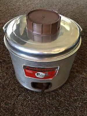Vintage Featherflite Metal Aluminum 2 Gal Water Jug Cooler Thermos - USA Made