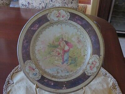 Antique Vintage Vienna Art Plate Victorian Design Cherubs Maroon Tin Litho 10""