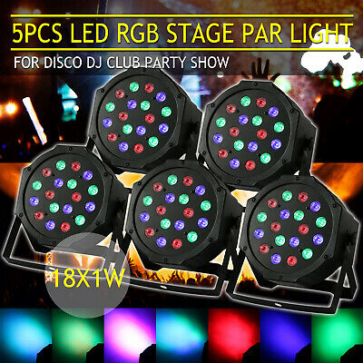 5PCS Laser RGB 18LED Stage Light Projector Disco Party DJ Lighting Strobe Lamp