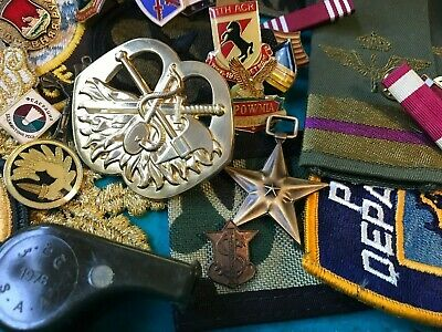 Vintage Military Junk Drawer Patch Pin Hat Bage Medal Bar Army Whistle Fork Lot