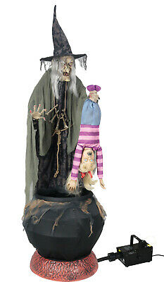 Halloween LIFE SIZE ANIMATED STEW BREW WITCH WITH KID Prop WITH FOG MACHINE
