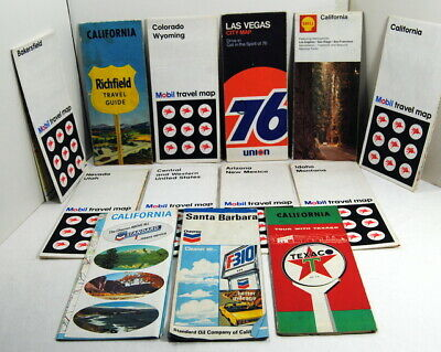 Lot of 13 Gas & Oil Station Maps Richfield Union76 Shell Texaco Chevron Mobil