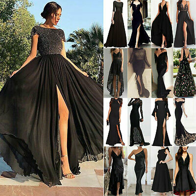 Women's Wedding Dress Lace Long Bridesmaid Dress Formal Evening Party Gown Black