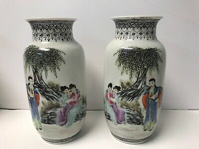 Chinese Porcelain Pair Vases Maidens Marked Old Estate Collection