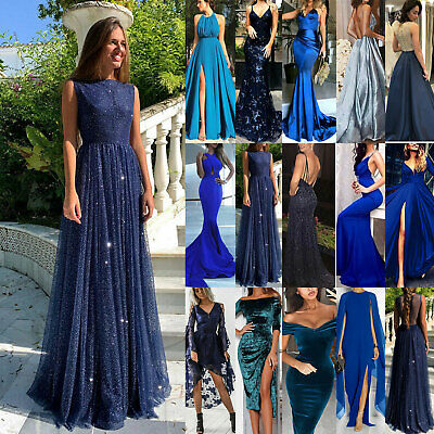 Women Ladies Evening Party Cocktail Formal Prom Ball Gown Maxi Dress Blue Size