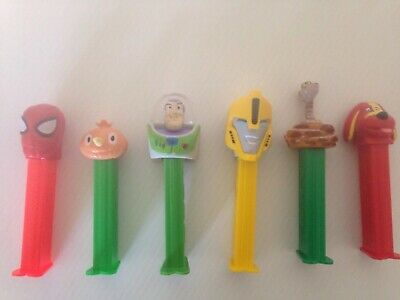 6 Radom Pez Dispeser collectibles /spider man/buzz light year/Bumble bee ect,