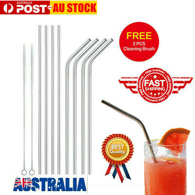 8X Reusable Stainless Steel Metal Drinking Straws 4Bent 4Straight+2 Brushes AU