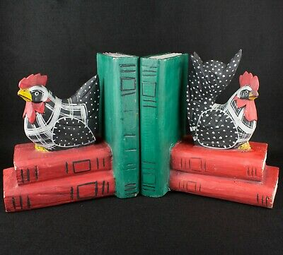 Wooden Chicken Hen on stack of books Bookends Red Black Green