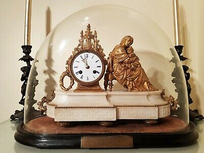 French Ormolu & White Marbel Figural Mantel Clock, Stand & Glass Dome