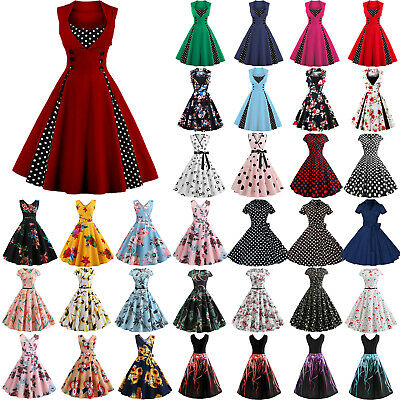 Womens 50s 60s Vintage Pinup Swing Evening Party Rockabilly V Neck Retro Dress