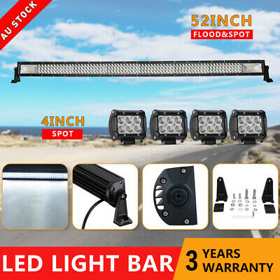 """52inch Combo LED Light Bar + 4"""" Spot LED Lamp Pods Offroad Driving SUV Jeep 50''"""