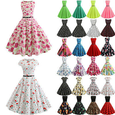 Womens Girls 50S 60S ROCKABILLY Style Swing Pinup Vintage Housewife Party Dress