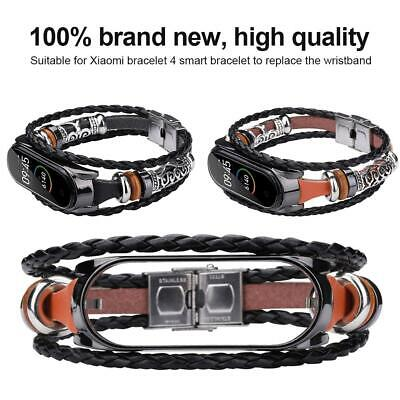 Leather Braided Wristband Replacement Strap Bracelet Band For Xiaomi Mi Band 3 4