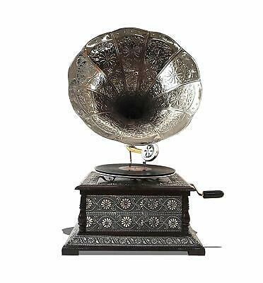 Antique Replica Dark Wood Hand Made Phonograph with Brass Horn Vintage Retro