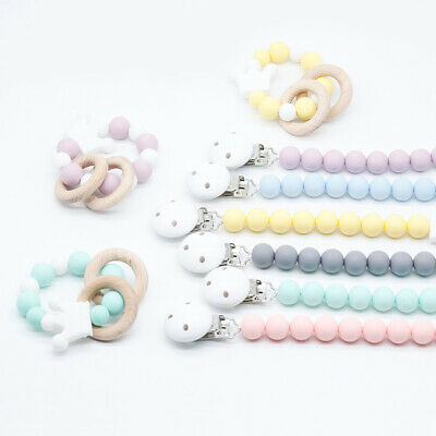 Crown Silicone Bead Dummy Pacifier Chain Clips Baby Teething Rattle Bracelet Set