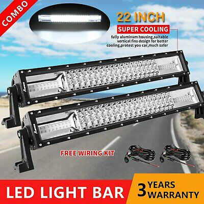 Pair 22inch CREE LED Work Light Bar Flood Spot Offroad Truck Driving SUV 23/24''