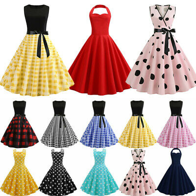Women's Lady 50s 60s Retro Style Rockabilly Pinup Swing Casual Party Prom Dress