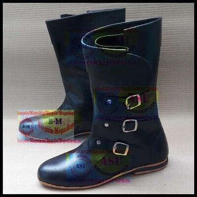 Black Leather Boots Buckled Cowboy Boot Middle Ages Shoes Stylish Biker Shoes