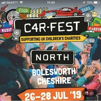 Carfest North Weekend Ticket - 3 Adults With Camping And Carparking Will Split.