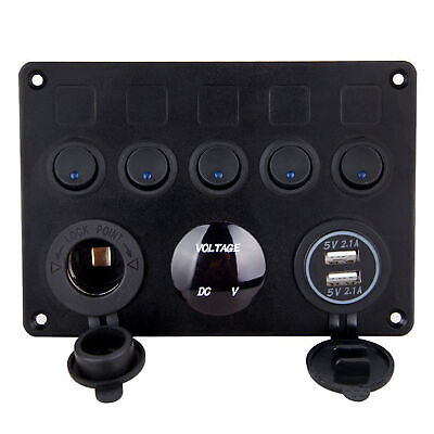 12V 5 Gang ON-OFF Toggle Switch Panel 2USB for Car Boat Marine RV Truck Camper