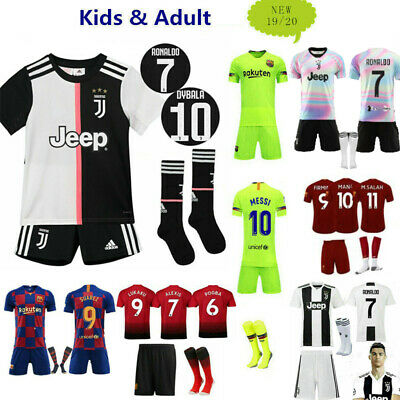 UK 18/19 Soccer Football Short Sleeve Kids Boys 3-14 Years Jersey Kits & Socks