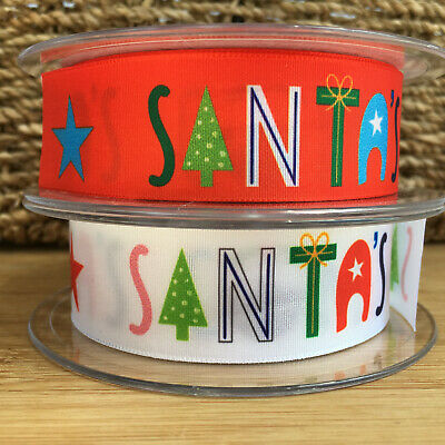 Christmas Ribbon, 'Santa is coming' 25mm Wide, 2 colours, sold per metre