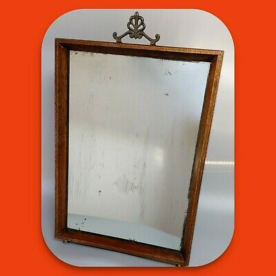 Antique Art Deco Oak Framed Free Standing Vanity Mirror with Excellent Patina.