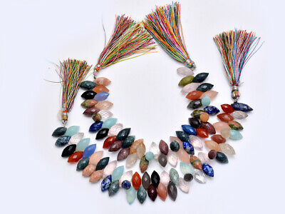 2 Strand Lot Natural Mix Gemstone Loe/Grain Faceted Beads 7''6x12-7x14MM 355ct.