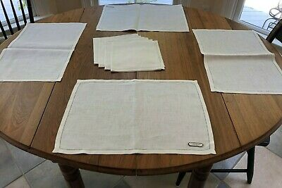 Irish Linen White Hemstitched Placemats  and 4 Matching Napkins, Original Tags