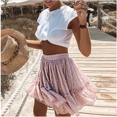 Womens Mini Skirt Frill Ruffle High Waisted Summer Beach Party Ladies Girls