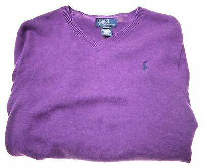 POLO RALPH LAUREN Boys Jumper Sweater 14-15 Years Large Purple Cotton  GU07