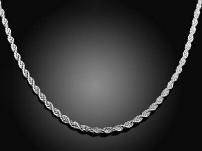 Silver Sterling Rope Chain Necklace Diamond Cut Solid 925 Men 2mm Men Women Rope
