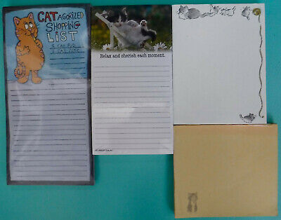 4 Vintage Cat-Themed Notepads 2 Sealed Unused, 2 Partly Used