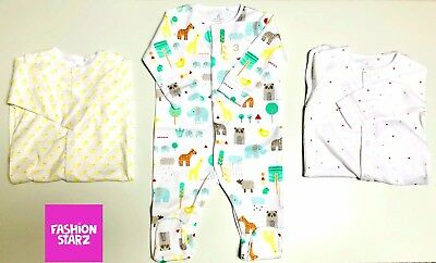 BNWT NEXT Baby Boys/Girls Newborn 0-1 0-3 6-9-12  Animal Sleepsuits/Babygrow