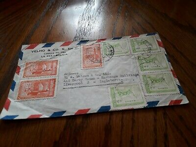 BOLIVIA TO UK 1953 COVER STAMPS POST FREE WORLDWIDE £3.99 bx4
