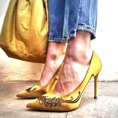 06c729e1dc9 $98 ZARA SATIN Court Shoes with Embroidered Beading Yellow heels ...