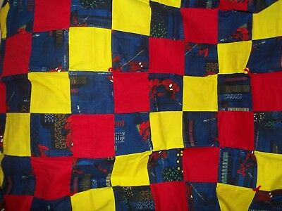 """Homemade Child's Blanket with Spiderman Theme   (46""""  x  34"""")"""