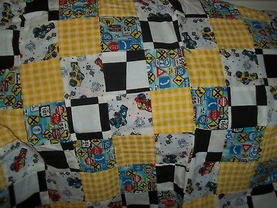 """Homemade Child's Blanket with Racing Cars Theme   (50""""  x  32"""")"""